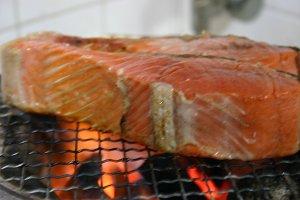 紅鮭、焼き上がり寸前