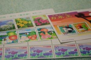 賞品の切手シートと本日買った切手
