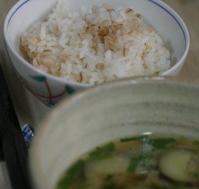 麦飯、麦味噌汁